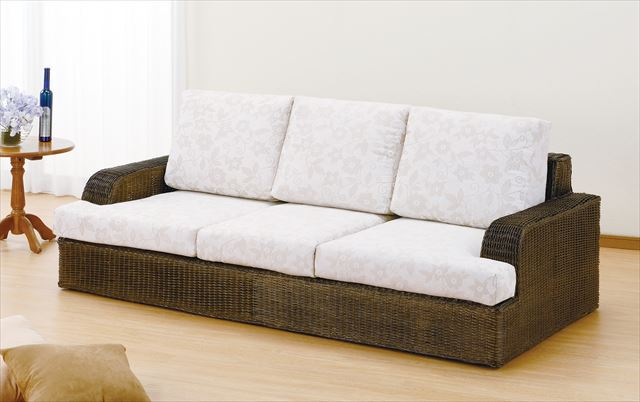 3Pソファ Y-181B ダークブラウン 籐 籐家具 ソファ アジアンリビングルーム籐 ラタン 製 輸入品 完成品