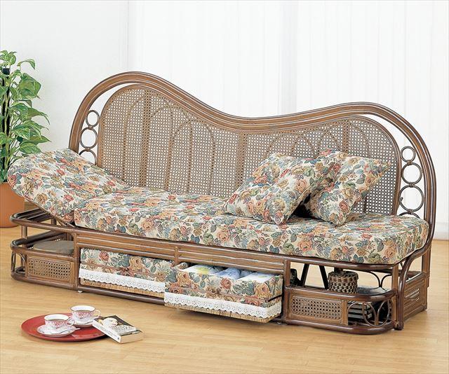 カウチソファー 幅185cmタイプ Y-614B ブラウン 籐 籐家具 カウチソファー ソファー アジアンリビングルーム籐 ラタン 製 輸入品 完成品