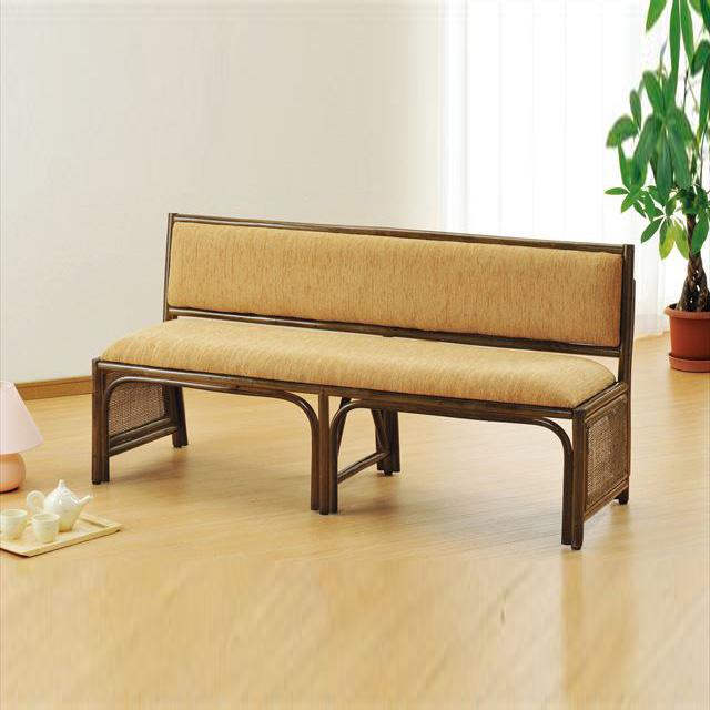 籐背もたれ付ベンチ Y-878B ブラウン 籐 籐家具 ベンチ 椅子 イス アジアンリビングルーム籐 ラタン 製 輸入品 完成品