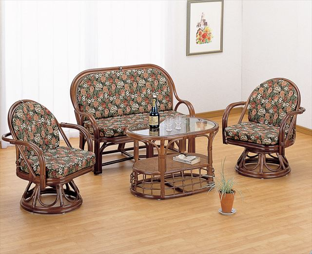 リビング4点セット Y-1000AB ブラウン 籐 籐家具 チェアー ラブチェアー ソファー テーブル センターテーブル アジアンリビングルーム籐 ラタン 製 輸入品 完成品