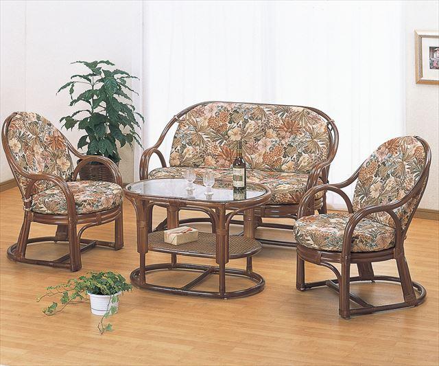 リビング4点セット Y-55560B ブラウン 籐 籐家具 チェアー ラブチェアー ソファー テーブル センターテーブル アジアンリビングルーム籐 ラタン 製 輸入品 完成品