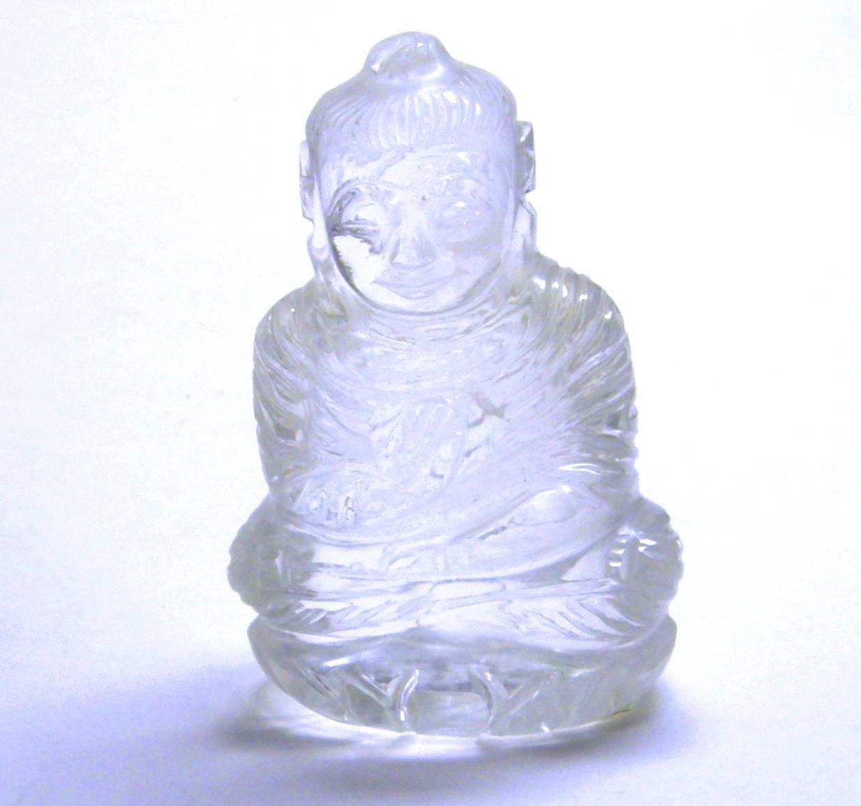 日本製 国内送料無料 天然水晶108g仏様彫刻品