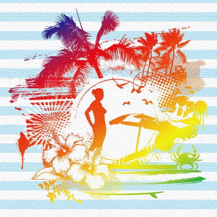 ハワイアンシルエット ファブリックボード アートパネル SILHOUETTE XLサイズ 100cm×100cm lib-4122482s4 北欧 送料無料 クーポン プレゼント 通販 NP 後払い 新生活 オススメ %off ジェンコ 北欧 モダン インテリア ナチュラル テイスト 雑貨