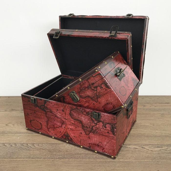 アンティーク風ボックス 横型ボックス 小物入れ 収納箱 古代地図 S・M・L各1セット sun-4860486s1送料無料 北欧 モダン 家具 インテリア ナチュラル テイスト 新生活 オススメ おしゃれ 後払い 雑貨