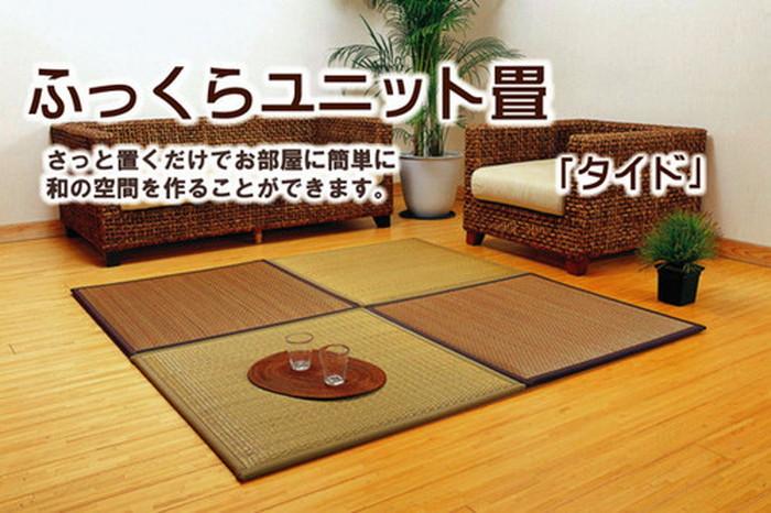 日本製 置き畳 ユニット畳 タイド 82×82×2.3cm 中材 低反発ウレタン+フェルト BE3BR3 約82×82×2.3cm 6P ike-5339788s8送料無料 北欧 モダン 家具 インテリア ナチュラル テイスト 新生活 オススメ おしゃれ 後払い マット 絨毯 ラグ カーペット リビング