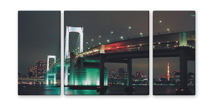 CANVAS ART キャンバスアート Japan Rainbow Bridge 日本 レインボーブリッジ Lサイズ W1000×H500 3枚組 US-2003 kar-4999346s2 北欧 送料無料 クーポン プレゼント 通販 NP 後払い 新生活 オススメ %off ジェンコ 北欧 モダン インテリア ナチュラル テイ