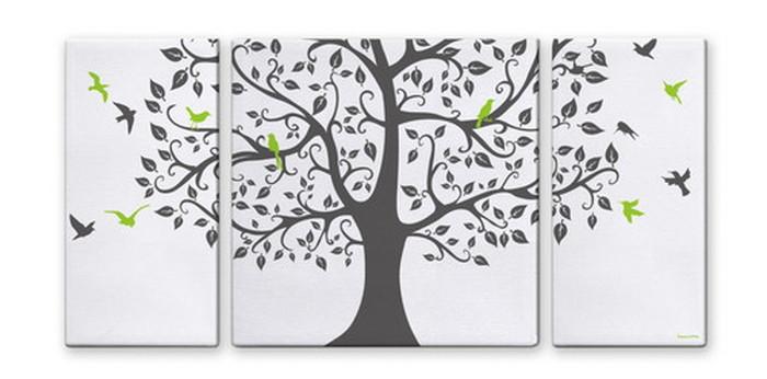 CANVAS ART キャンバスアート Tree&Bird Lサイズ W1000×H500 3枚組 US-4004 kar-5620997s2送料無料 北欧 モダン 家具 インテリア ナチュラル テイスト 新生活 オススメ おしゃれ 後払い 雑貨