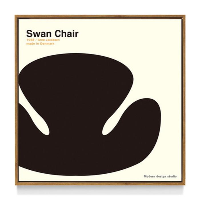 アートフレーム やすかわ としあき ND Concept Frame T. Yasukawa Swan Chair 500x500x30mm ITY-60921 bic-6942270s1送料無料 北欧 モダン 家具 インテリア ナチュラル テイスト 新生活 オススメ おしゃれ 後払い 雑貨
