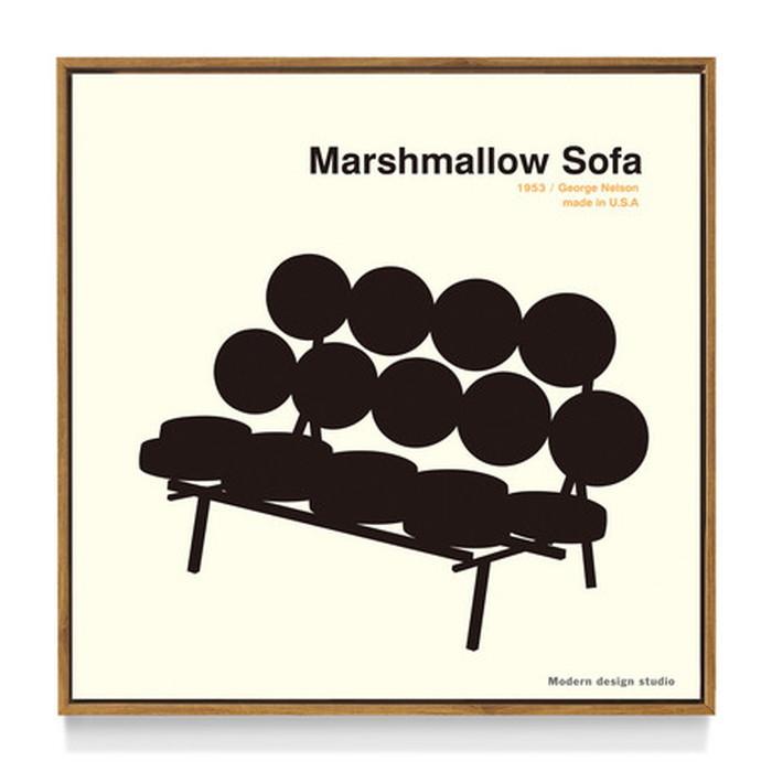 アートフレーム やすかわ としあき ND Concept Frame T. Yasukawa Marshmallow Sofa 500x500x30mm ITY-60927 bic-6942276s1送料無料 北欧 モダン 家具 インテリア ナチュラル テイスト 新生活 オススメ おしゃれ 後払い 雑貨