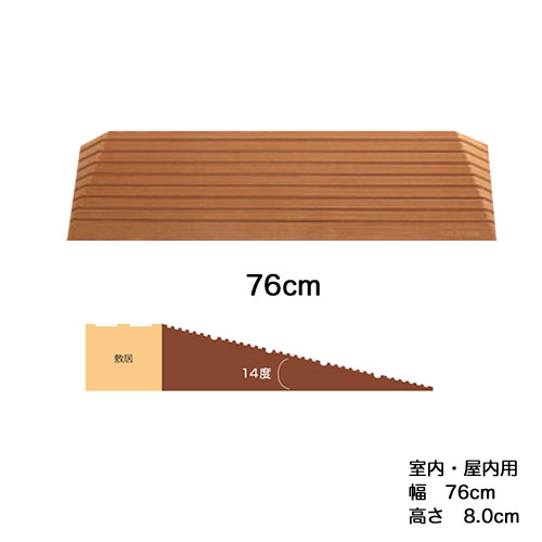 [直送品]段差スロープ ダイヤスロープシンエイテクノDS76-80 幅76cm高さ8.0cm室内・屋内用段差解消スロープ[直送品以外と同梱不可]