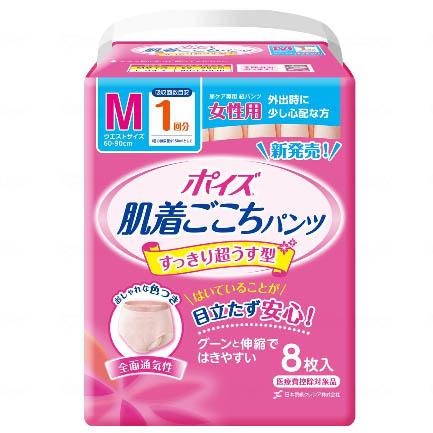 [直送品]クレシア ポイズ肌着ごこちパンツ 女性用 1回分 ケース M (8枚/8袋)[直送品以外と同梱不可]