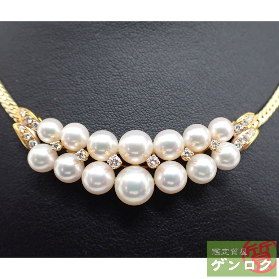 【中古】ミキモト パール K18ゴールド ダイヤ パールネックレス ゴールド ネックレス MIKIMOTO【質屋】【代引き手数料無料】