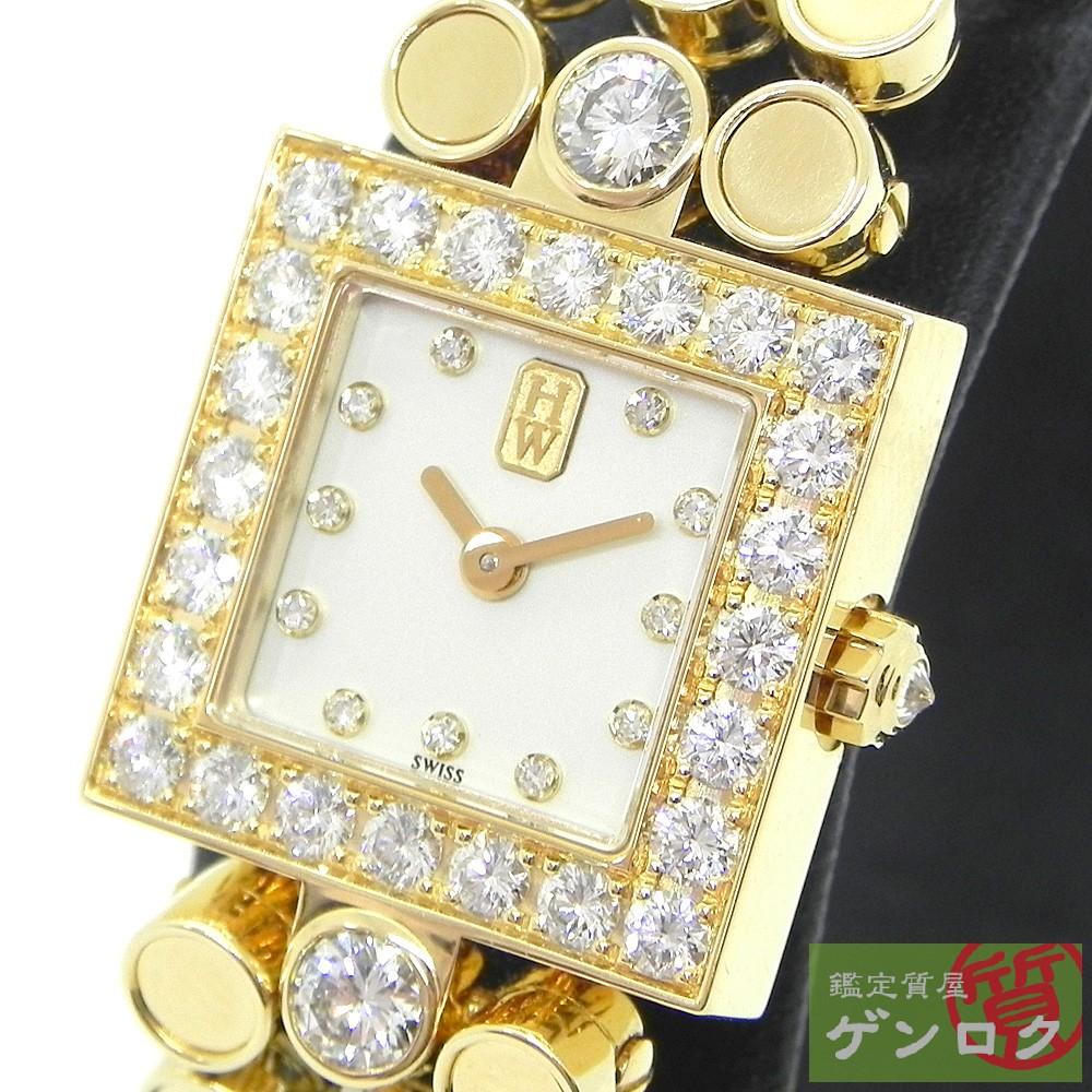 【中古】ハリーウィンストン シグネチャー ゴールド 750 ダイヤ 腕時計 HARRY WINSTON【質屋】【代引き手数料無料】