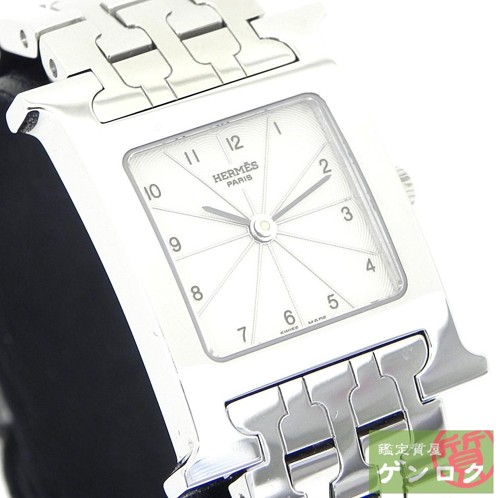 【中古】エルメス Hウォッチ SS ステンレススチール シルバー ホワイト 腕時計 HERMES【質屋】【代引き手数料無料】