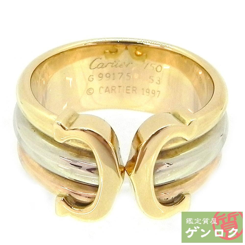 【中古】カルティエ 2C リング 指輪 K18 イエローゴールド ピンクゴールド ホワイトゴールド ゴールド リング CARTIER【質屋】【代引き手数料無料】