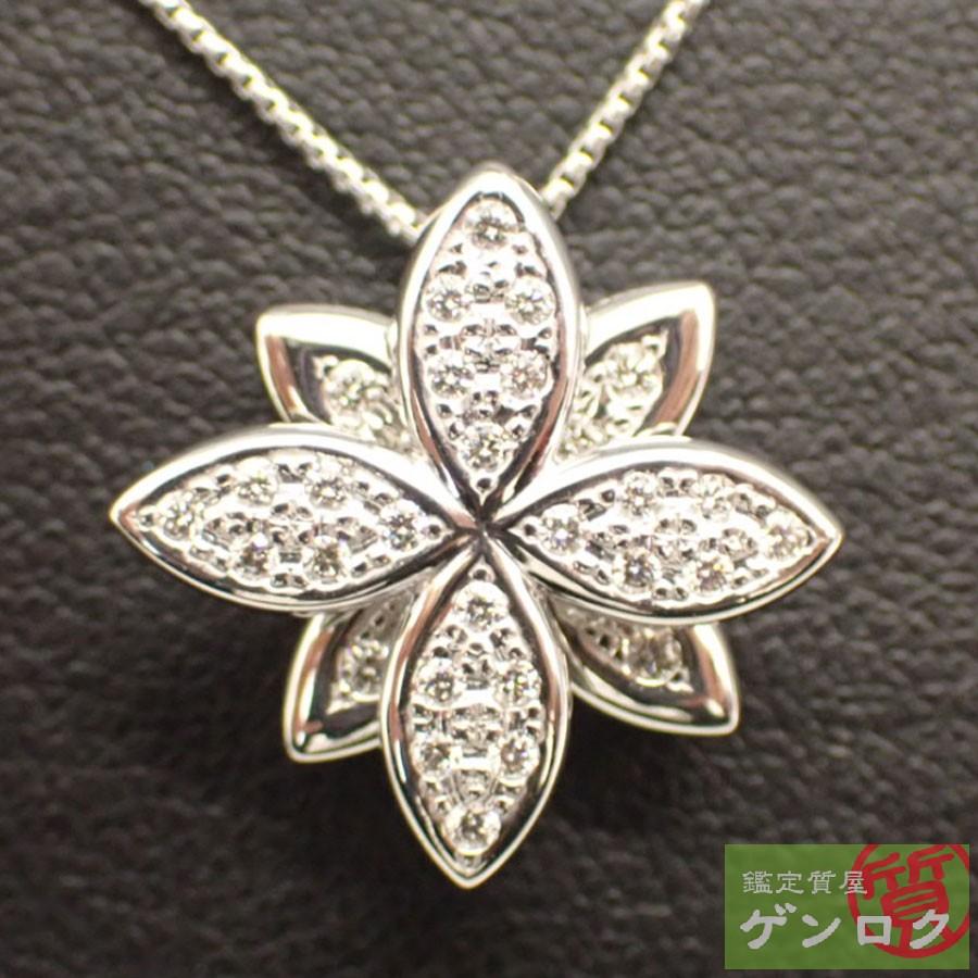 【中古】タサキ ダイヤモンド ネックレス K18ホワイトゴールド シルバー TASAKI【質屋】【代引き手数料無料】