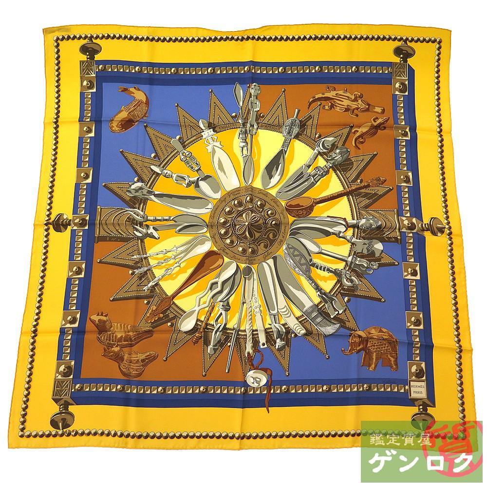 【中古】エルメス カレ 90 アフリカのスプーン CUILLERS D'AFRIQUE ブラック シルク スカーフ HERMES【質屋】【代引き手数料無料】