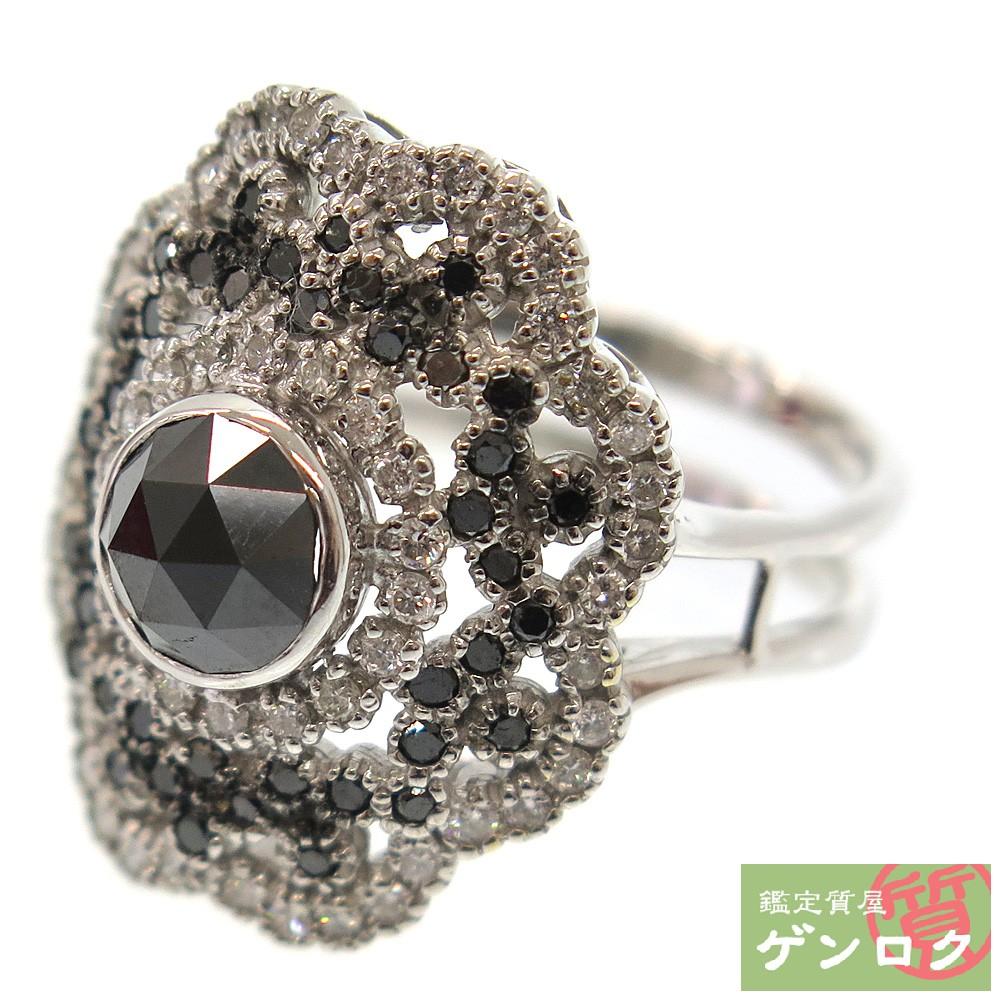 【中古】 K18ホワイトゴールド ブラックダイヤモンド K18WG 天然ブラックダイヤ リング 指輪 天然ダイヤ【質屋】【代引き手数料無料】
