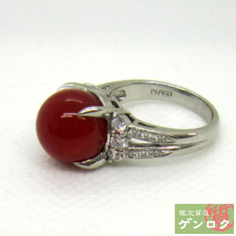 【中古】 サンゴ 11ミリ リング Pt900 プラチナ ダイヤモンド 指輪 珊瑚【質屋】【代引き手数料無料】