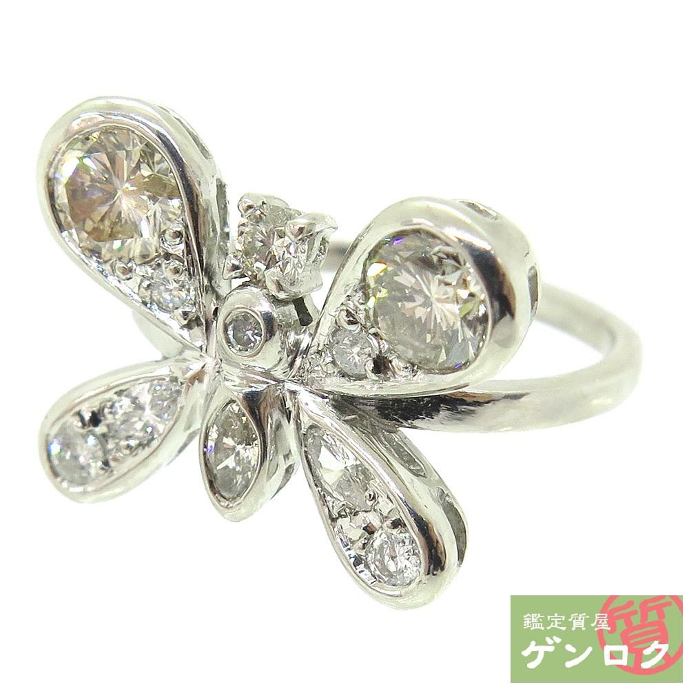【中古】 Pt900 ダイヤ ダイヤモンド リング 指輪 バタフライモチーフ 12号 【質屋】【代引き手数料無料】