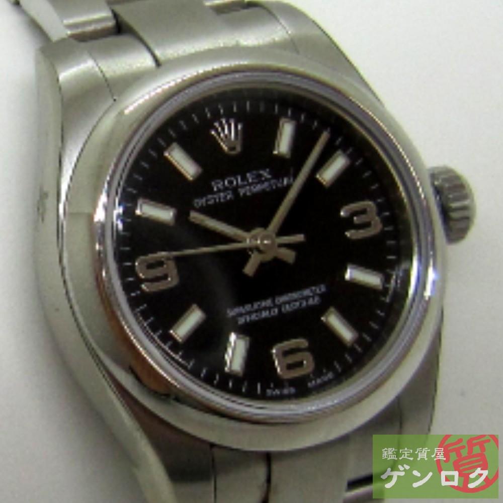 【中古】ロレックス 176200 ステンレススチール オイスターパーペチュアル ブラック文字盤 腕時計 ROLEX Z番レディース【質屋】【代引き手数料無料】