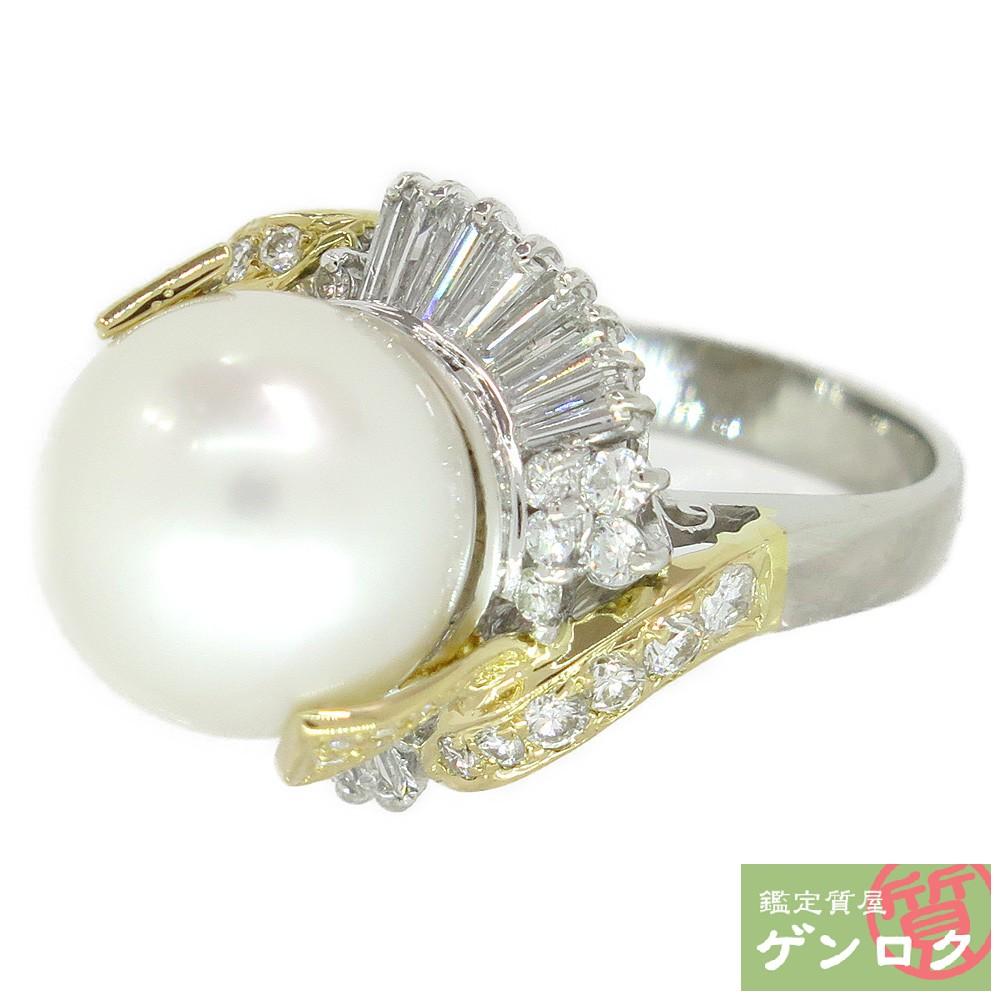 【中古】 Pt900 K18 750 パール 真珠 13mm ダイヤモンド リング 指輪【質屋】【代引き手数料無料】