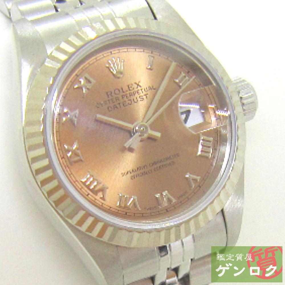 【中古】ロレックス 69174 SS K18WG オイスターパーペチュアルデイトジャスト ピンクローマン文字盤 腕時計 ROLEX【質屋】【代引き手数料無料】