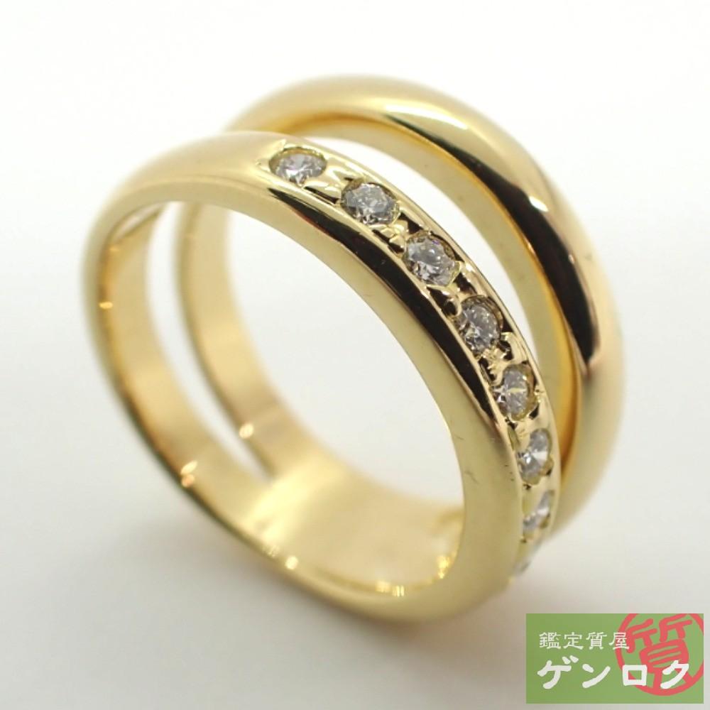 【中古】 タサキ ダイヤモンドリング K18 イエローゴールド ダイヤモンド 美品 リング・指輪 TASAKI【質屋】【代引き手数料無料】