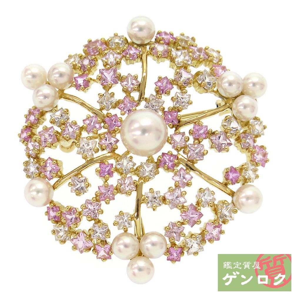 【中古】 タサキ K18 750 サファイア ピンクサファイア パール 真珠 ブローチ TASAKI【質屋】【代引き手数料無料】