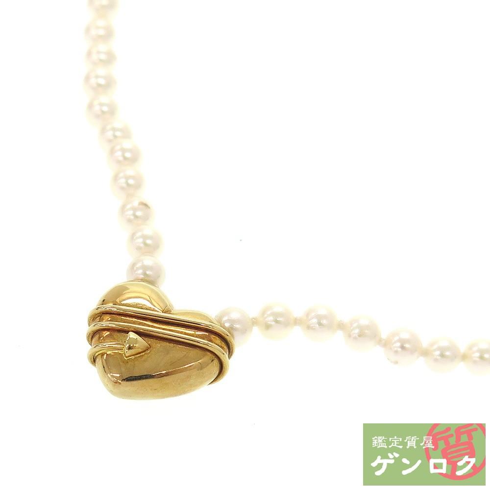 【中古】 ティファニー K18 750 18金 YG イエローゴールド パール ネックレス ハート TIFFANY&Co.【質屋】【代引き手数料無料】