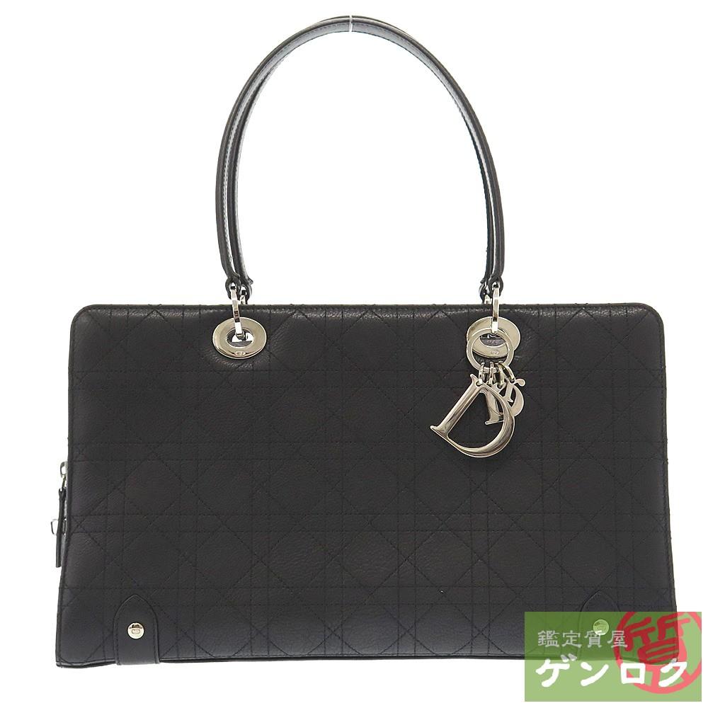 【中古】 ディオール カナージュステッチ トートバッグ トート レザー ブラック 黒 Dior【質屋】【代引き手数料無料】