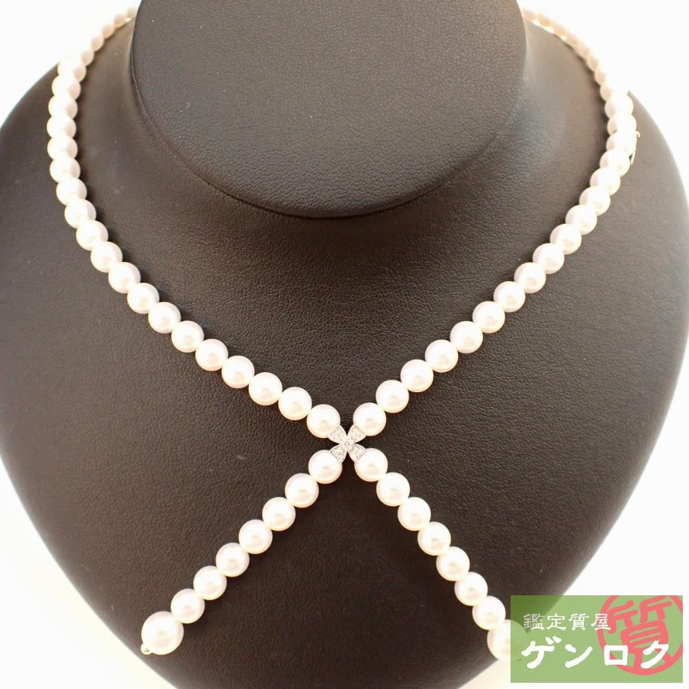 【中古】 ミキモト パール ダイヤモンド K18WG ネックレス MIKIMOTO【質屋】【代引き手数料無料】