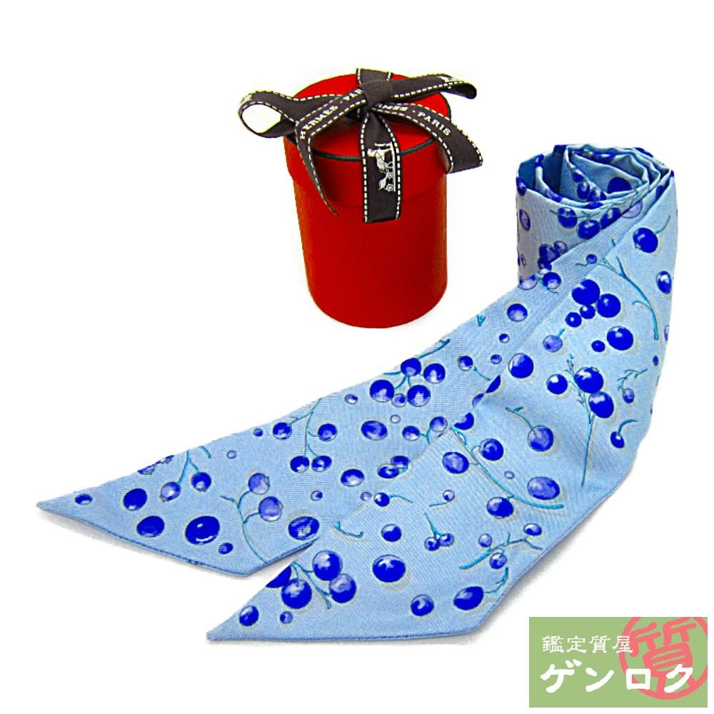 【中古】 エルメス ツイリー 木の実柄 シルク ライトブルー スカーフ HERMES【質屋】【代引き手数料無料】