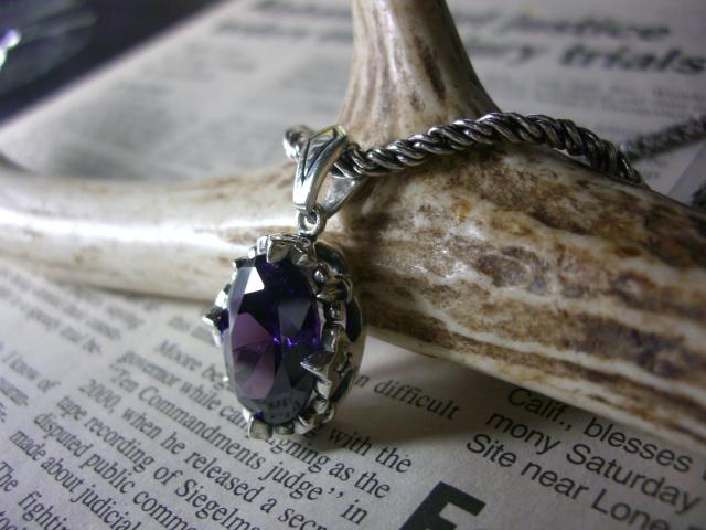 アメジスト ネックレス シルバー925 ジルコニア 王冠 クラウン 紫 パープル