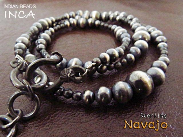 送料無料 ナバホ族パールビーズが紡ぐ珠玉のハンドメイドを堪能してください インディアンジュエリー ネックレス ナバホパール ハンドメイド シルバー925 INCA