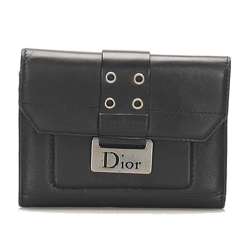 クリスチャン ディオール 2つ折り財布 レザー ブラック 黒 楽ギフ 中古 新品 送料無料 Christian Dior いよいよ人気ブランド あす楽