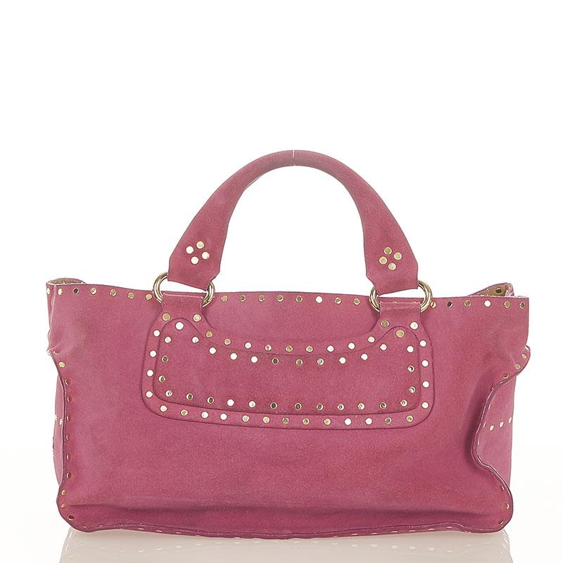 あす楽対応 セリーヌ ブギーバッグ CE00 国内送料無料 14 ピンク CELINE ハンドバッグ スウェード お金を節約 中古 レディース
