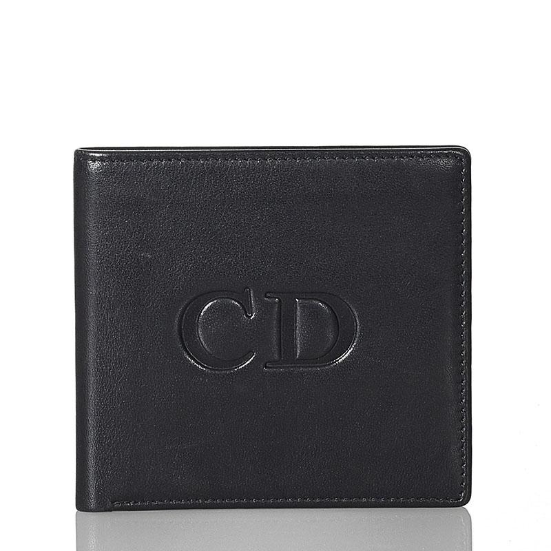 あす楽対応 中古 クリスチャンディオール ロゴ ブラック レザー レディース Christian 中古 直送商品 Dior 二つ折り財布