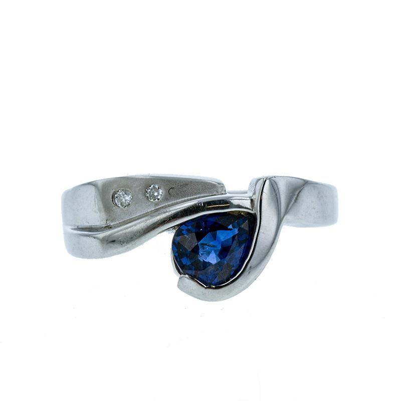 あす楽対応 Pt900 プラチナ お気にいる サファイア0.66ct ダイヤ0.02ct レディース リング 激安通販 中古 指輪 11.5号