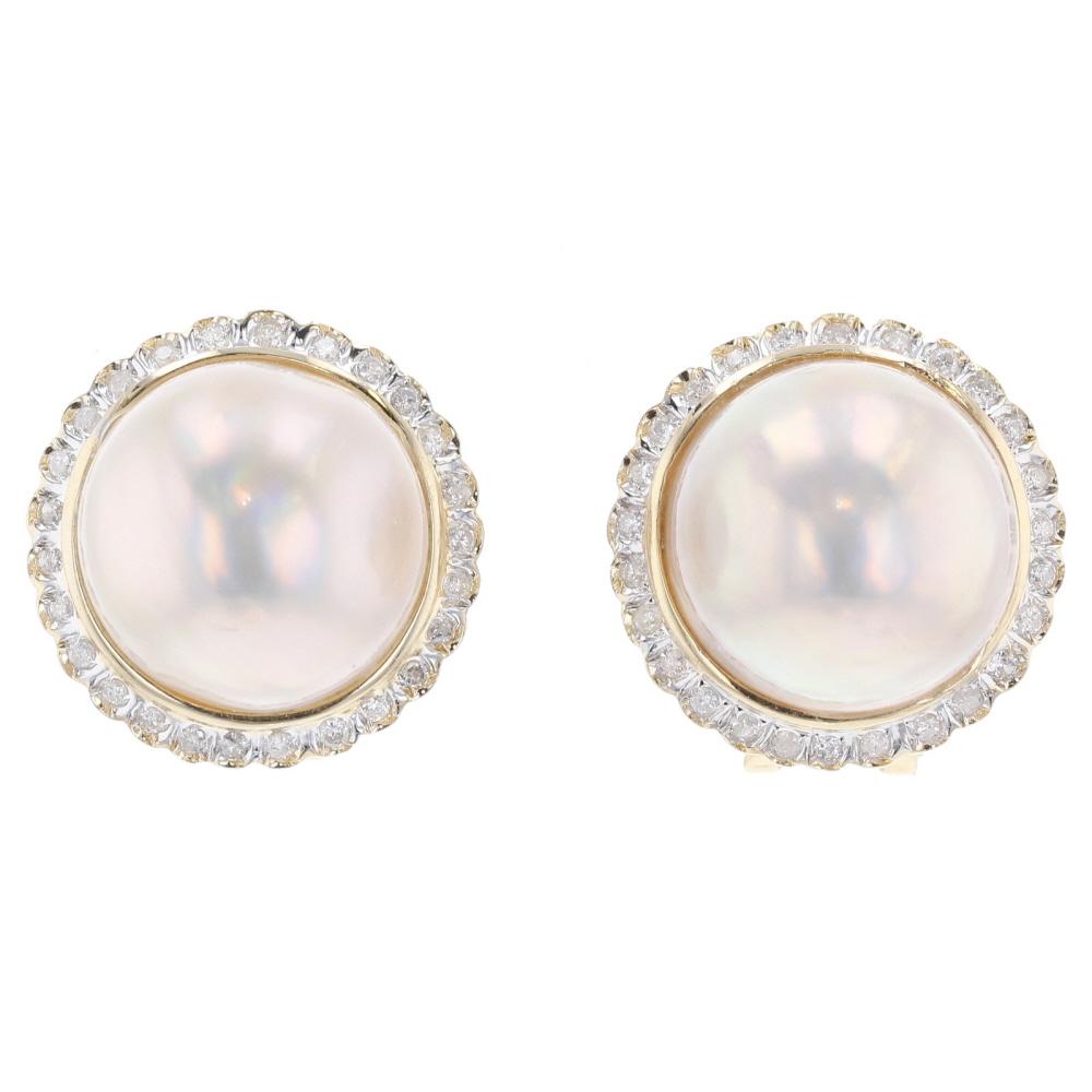 K14 Gold Mabe Pearl Diamond Earrings Used