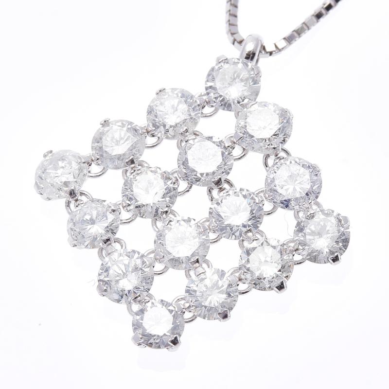 K18WG ホワイトゴールド ダイヤ 2.00ct  ネックレス 【中古】 楽ギフ あす楽