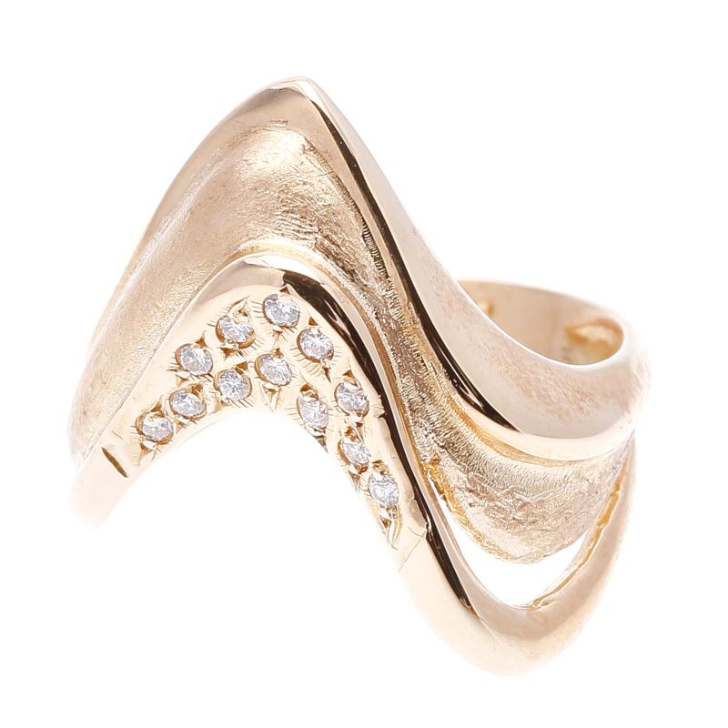 K18 ゴールド ダイヤ  リング 最大幅:約1.6cm #11 【中古】 楽ギフ あす楽