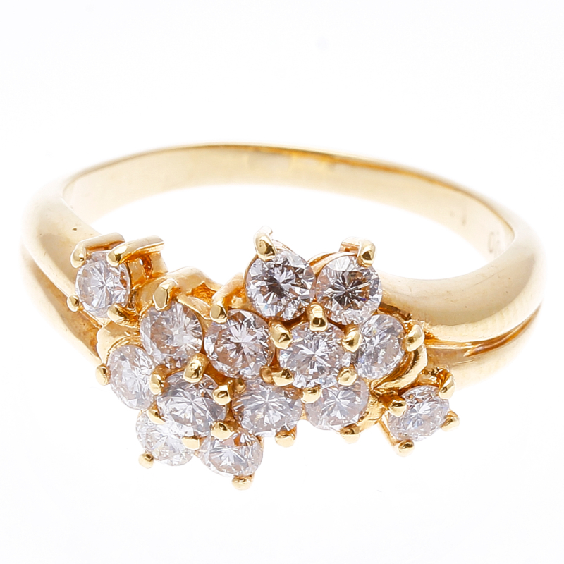 K18 ゴールド ダイヤ 1.00ct  リング 最大幅:約1cm #13 【中古】 楽ギフ あす楽