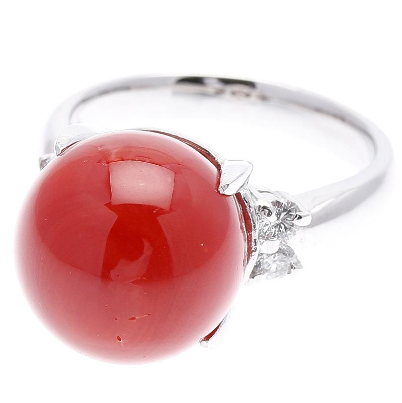 Pt900 プラチナ 赤サンゴ 直径:約12mm ダイヤ 0.21ct リング #12.5 【中古】 楽ギフ あす楽