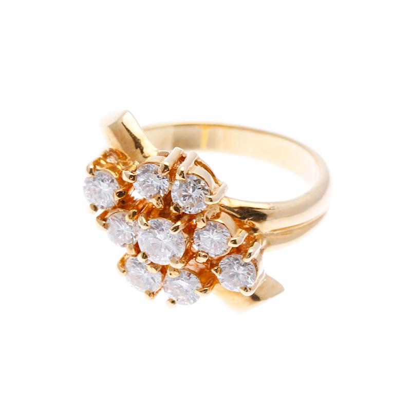 K18 ゴールド ダイヤ 1.0ct  リング 最大幅:約1.4cm #11 【中古】 楽ギフ あす楽
