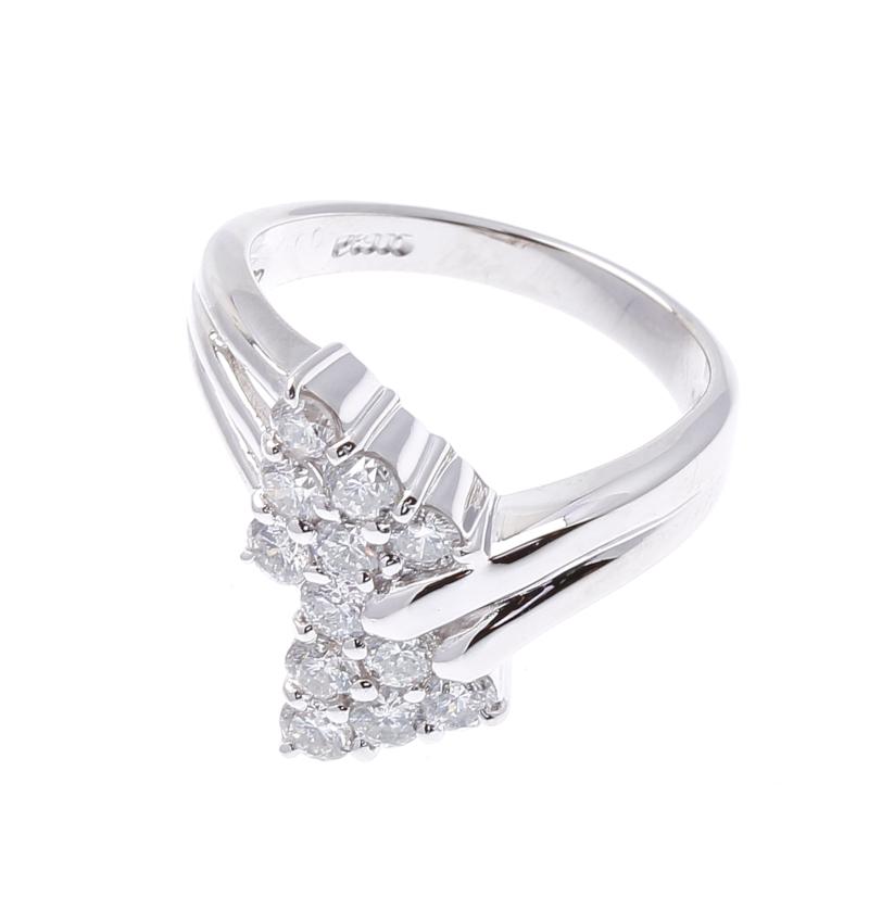 Pt900 プラチナ ダイヤ 1.0ct  リング 最大幅:約1.6cm #12.5 【中古】 あす楽