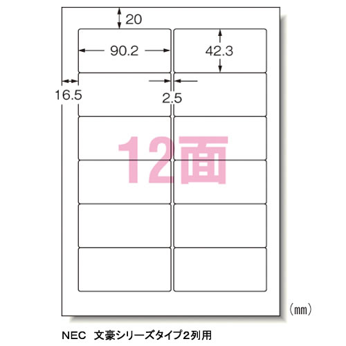 CR-35638 エーワン パソコン&ワープロラベル A4判 12面 500シート NEC 2列 28721【KK9N0D18P】