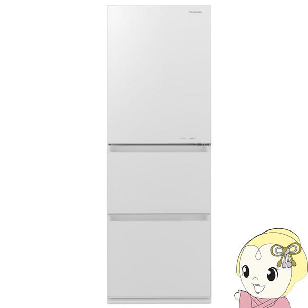 【設置込/右開き】NR-C340GC-W パナソニック 3ドア冷蔵庫335L フルフラットガラスドア スノーホワイト【smtb-k】【ky】【KK9N0D18P】