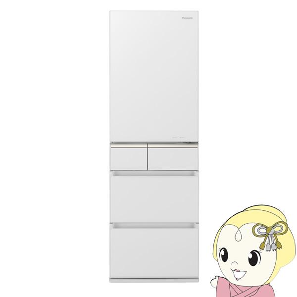 [予約 約3~4週間以降]【設置込】NR-E415PVL-W パナソニック 406L 5ドア冷蔵庫(スノーホワイト)【左開き】【KK9N0D18P】