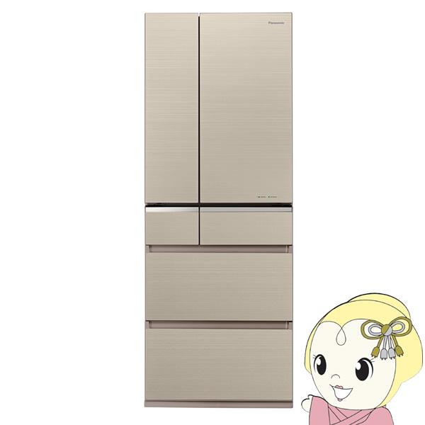 [予約 約2~3週間以降]【設置込み】パナソニック 501L 6ドア冷蔵庫 XPVタイプ (マチュアゴールド) NR-F506XPV-N【KK9N0D18P】